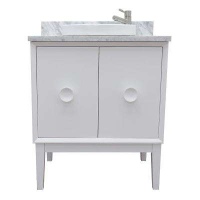 Stora 31 in. W x 22 in. D Bath Vanity in White with Marble Vanity Top in White with White Round Basin