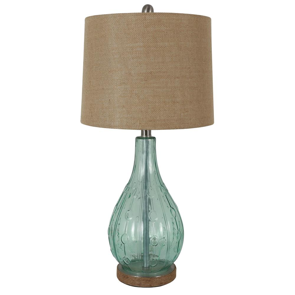 Decor Therapy Emma Embossed 27.5 in. Blue Table Lamp with Burlap Shade
