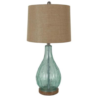 Emma Embossed 27.5 in. Blue Table Lamp with Burlap Shade