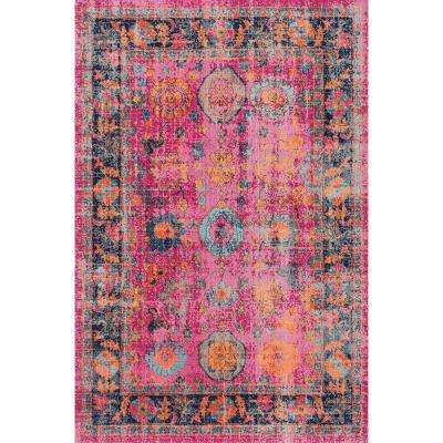 Persian Floral Garden Pink 8 ft. x 10 ft. Area Rug