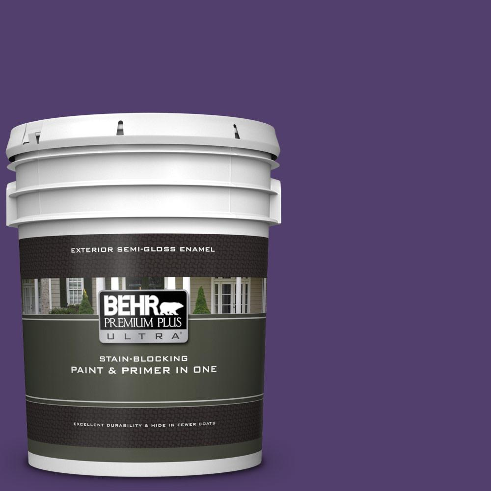 Behr Premium Plus Ultra 5 Gal P570 7 Proper Purple Semi Gloss Enamel Exterior Paint And Primer In One 585305 The Home Depot