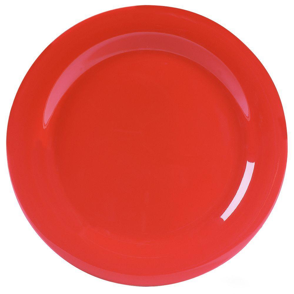 10.5 in. Diameter Melamine Narrow Rim Dinner Plate in Sunset Orange (Case of 12)