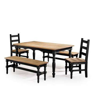 Jay 5-Piece Black Wash Solid Wood Dining Set with 2-Benches, 2-Chairs and 1-Table