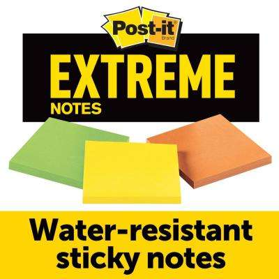 Post-it 3 in. x 3 in. Extreme Notes, Orange, Green and Yellow (45 Sheets-Pad)(3 Pads-Pack)