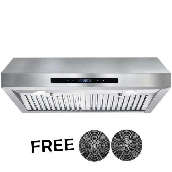 AKDY 30 in. 350 CFM Ducted Under Cabinet Range Hood in Stainless Steel with Touch Control,LEDs and Carbon Filters