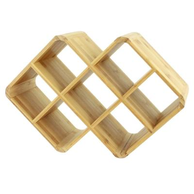 Bamboo 8-Bottle Brown Wine Rack