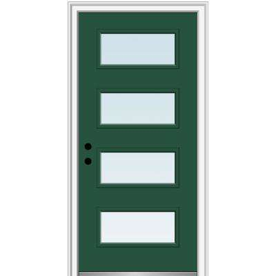 32 in. x 80 in. Celeste Right-Hand Inswing 4-Lite Clear Low-E Glass Painted Steel Prehung Front Door on 4-9/16 in. Frame