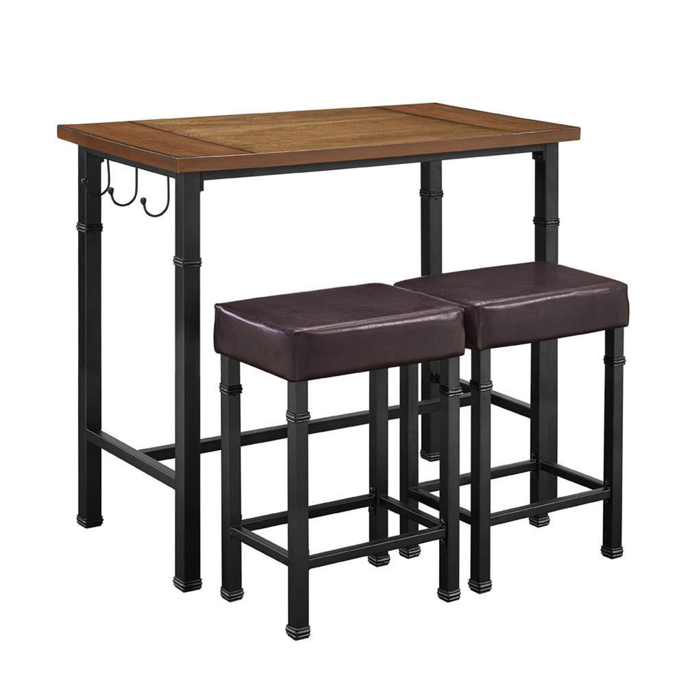 Merveilleux Linon Home Decor Austin 3 Piece Rustin Brown Bar Table Set 030413MTL01U    The Home Depot