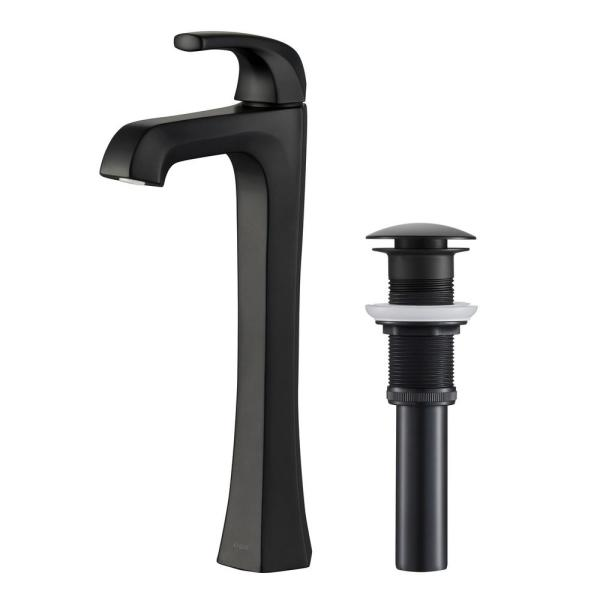 Esta Single Hole Single-Handle Vessel Bathroom Faucet with Pop-Up Drain in Matte Black
