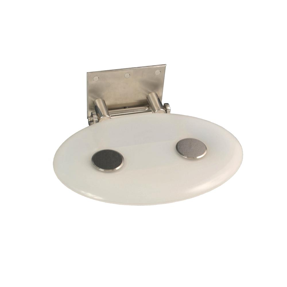 Modern Oval 16 in. x 10-7/8 in. Fold-up Shower Seat in Frosted White ...
