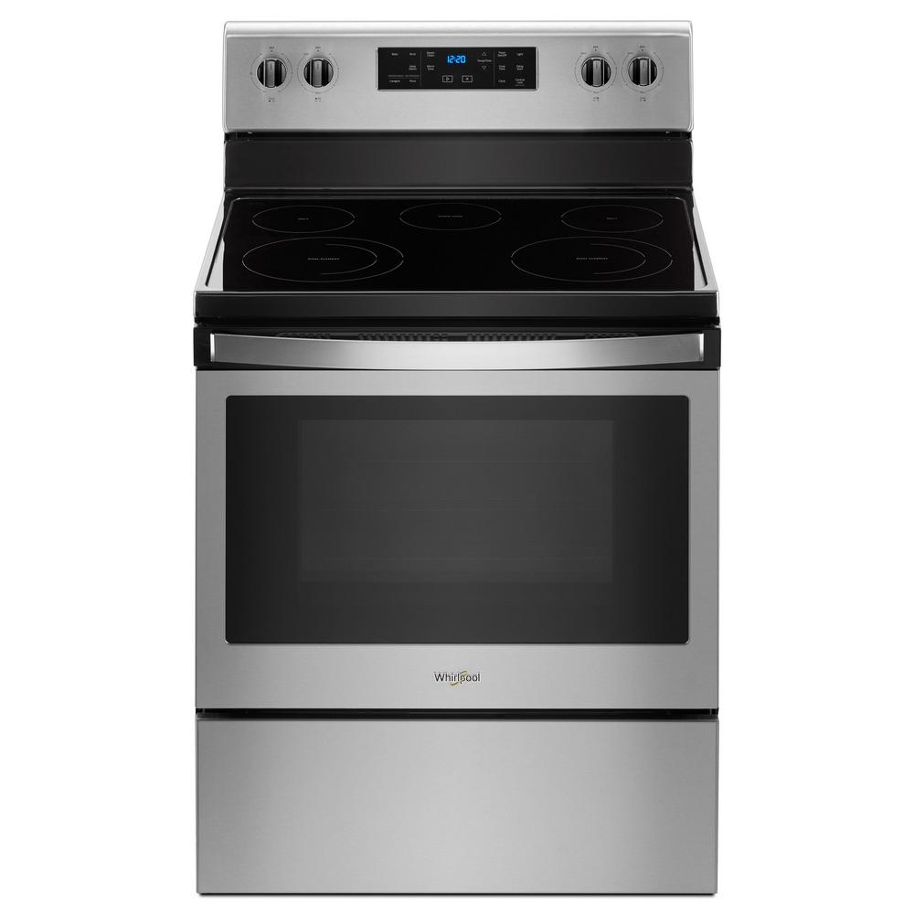 Whirlpool 5 3 cu  ft  Electric Range with Steam Clean and 5 Elements in  Stainless Steel