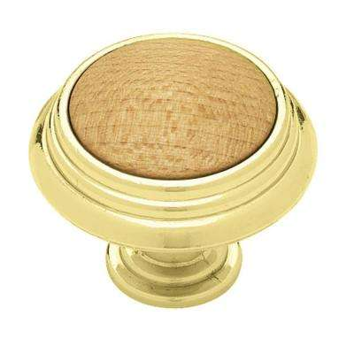 Rustic Wood 1-1/2 in. (38mm) Polished Brass with Red Oak Round Cabinet Knob