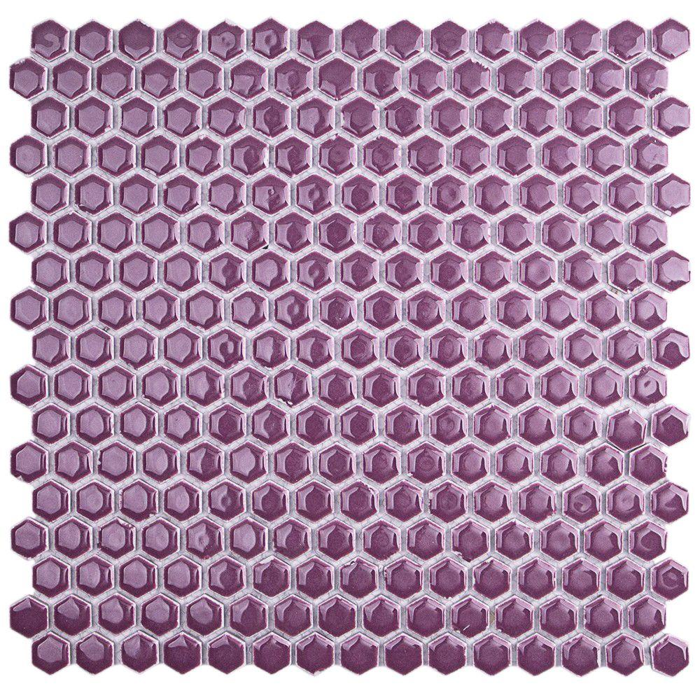 Bliss Edged Hexagon Polished Plum Ceramic Mosaic Floor and Wall Tile