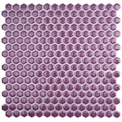 Bliss Edged Hexagon Polished Plum Ceramic Mosaic Floor and Wall Tile - 3 in. x 6 in. Tile Sample