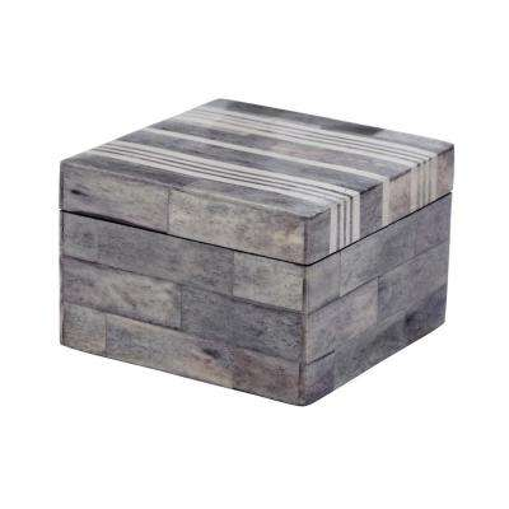 4 in. x 3 in. Gray and White Bone Decorative Box