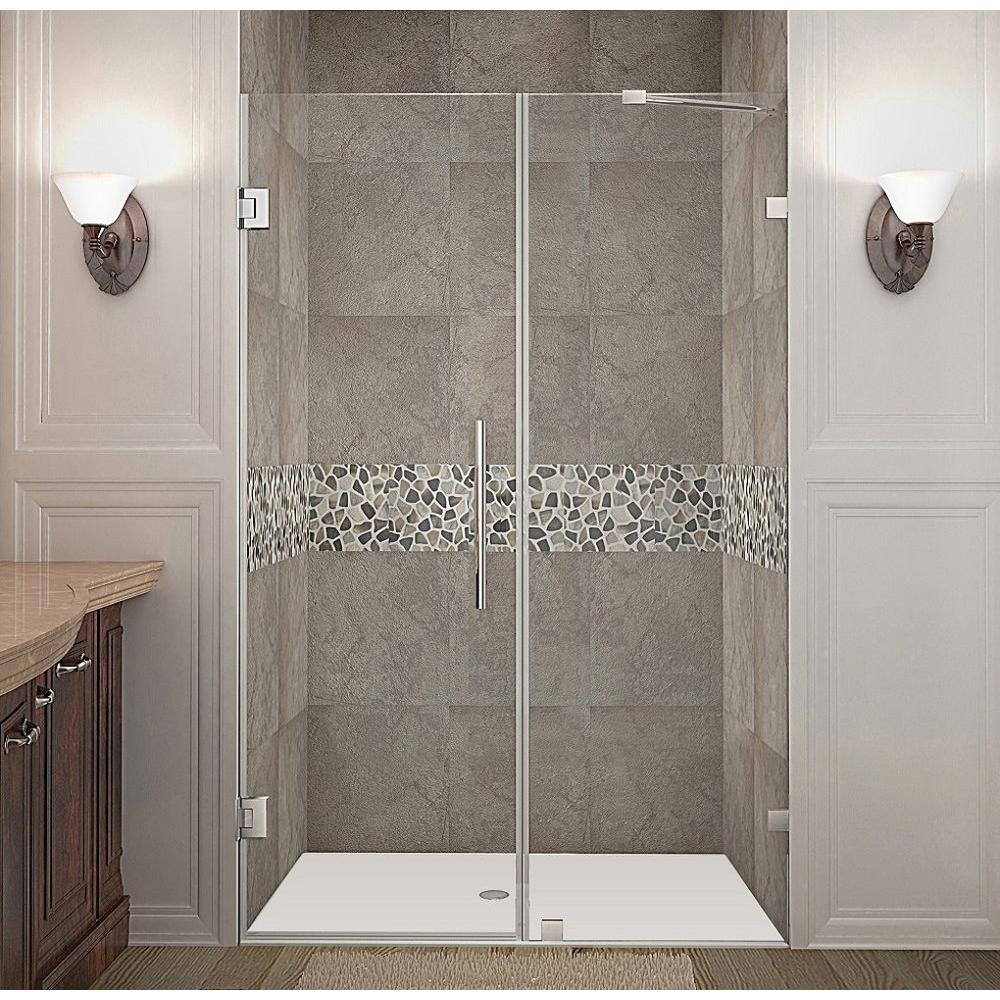 Aston Nautis 50 in. x 72 in. Frameless Hinged Shower Door in Chrome with Clear Glass