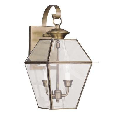 Providence 2-Light Antique Brass Outdoor Wall Lantern Sconce with Clear Beveled Glass
