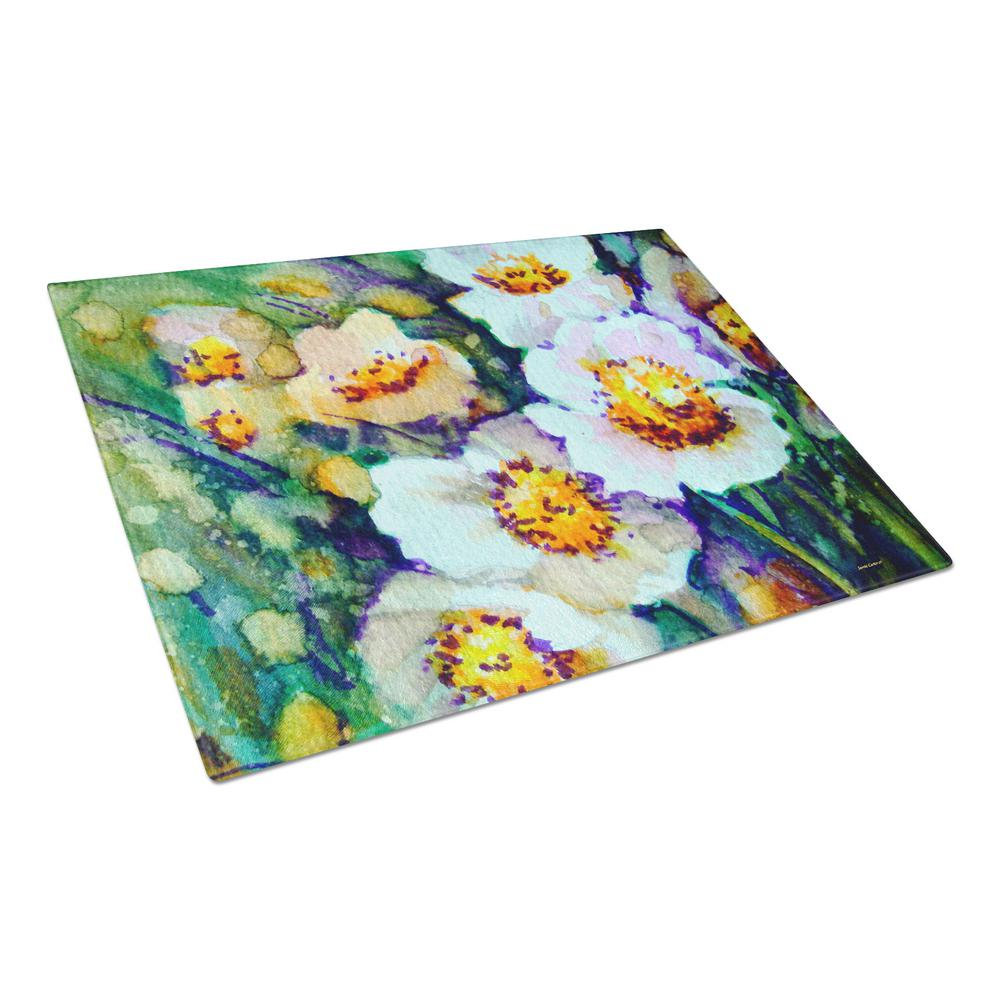 Raindrops on Poppies Tempered Glass Large Cutting Board