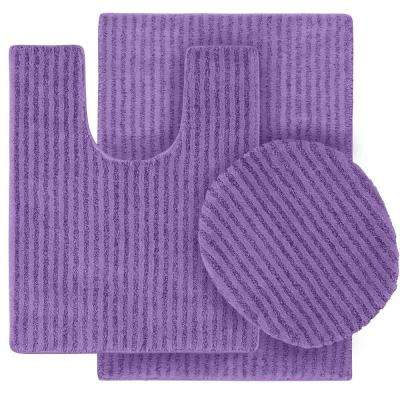 Sheridan Purple 21 in. x 34 in. Washable Bathroom 3-Piece Rug Set
