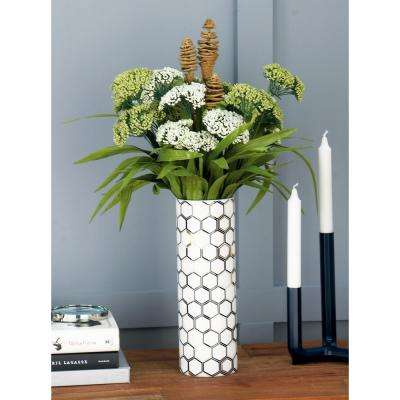 12 in. White Ceramic Decorative Vase with Honeycomb and Overlapping Hexagon Patterns (Set of 2)