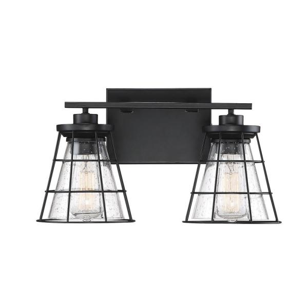 2-Light Black Bath Vanity Light with Clear Seeded Glass