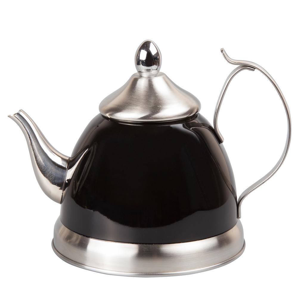 Nobili-Tea 1.0 Qt. Stainless Steel Tea Kettle with Removable Infuser Basket in Filter Black