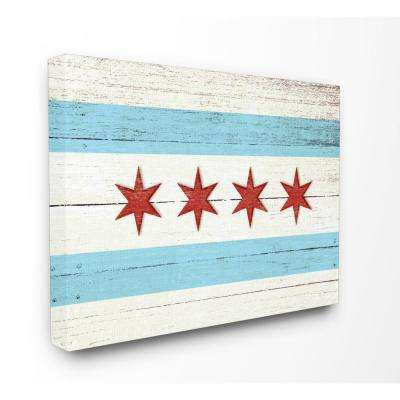 "16 in. x 20 in. ""Chicago Flag Distressed Wood Look"" by Daphne Polselli Printed Canvas Wall Art"