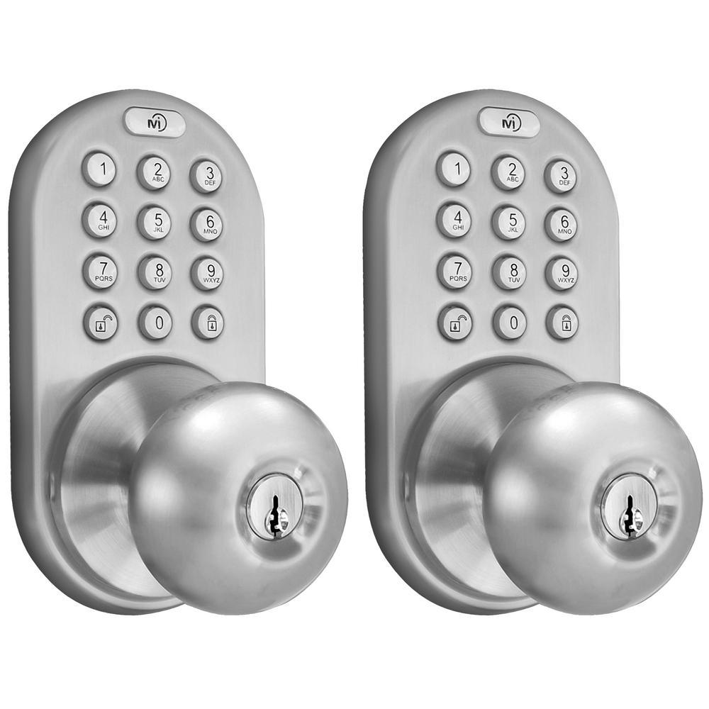 MiLocks Keyless Satin Nickel Entry Door Knob, Keyed Alike