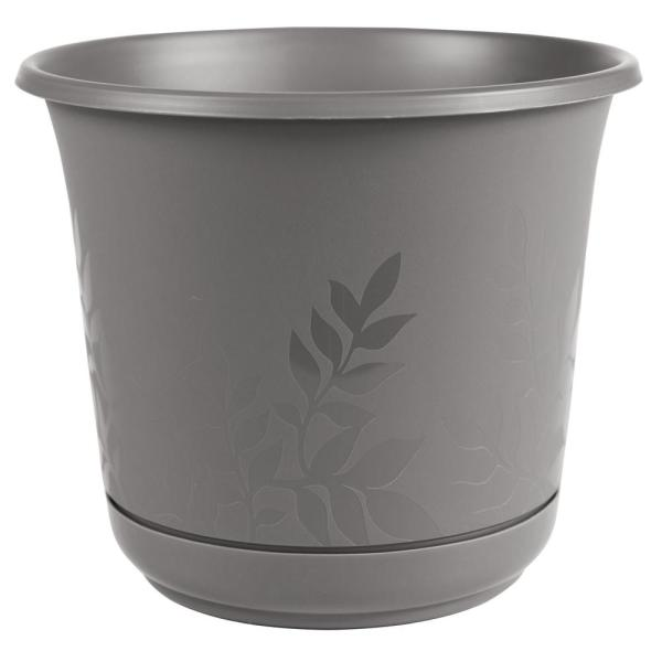 Freesia 8 in. x 7.5 in. Charcoal Plastic Planter with Saucer