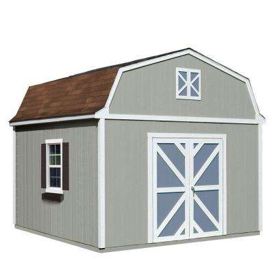 Installed Sequoia 12 ft. x 12 ft. Wood Storage Shed with Autumn Brown Shingles