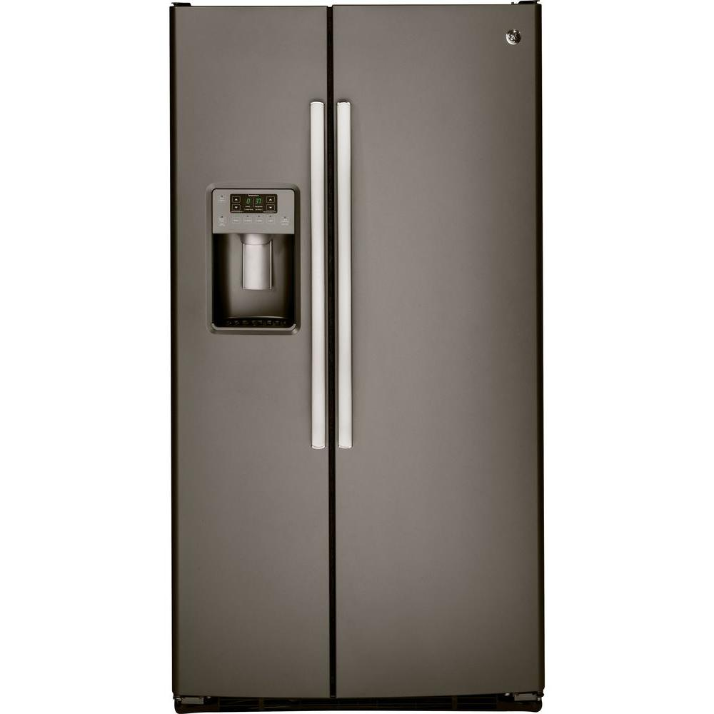 GE 36 in. W 25.4 cu. ft. Side by Side Refrigerator in Slate ...