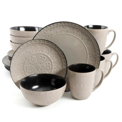 Milanto 16-Piece Grey Dinnerware Set (Service for 4)