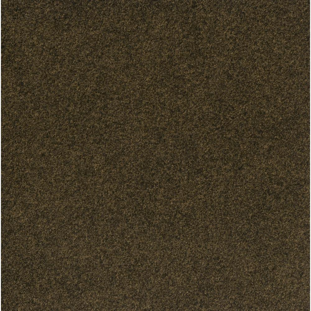Premium Self-Stick Grizzly Grass Color Pecan 24 in. x 24 in. Indoor/Outdoor Carpet Tiles (15 Tiles/60 sq. ft./case)