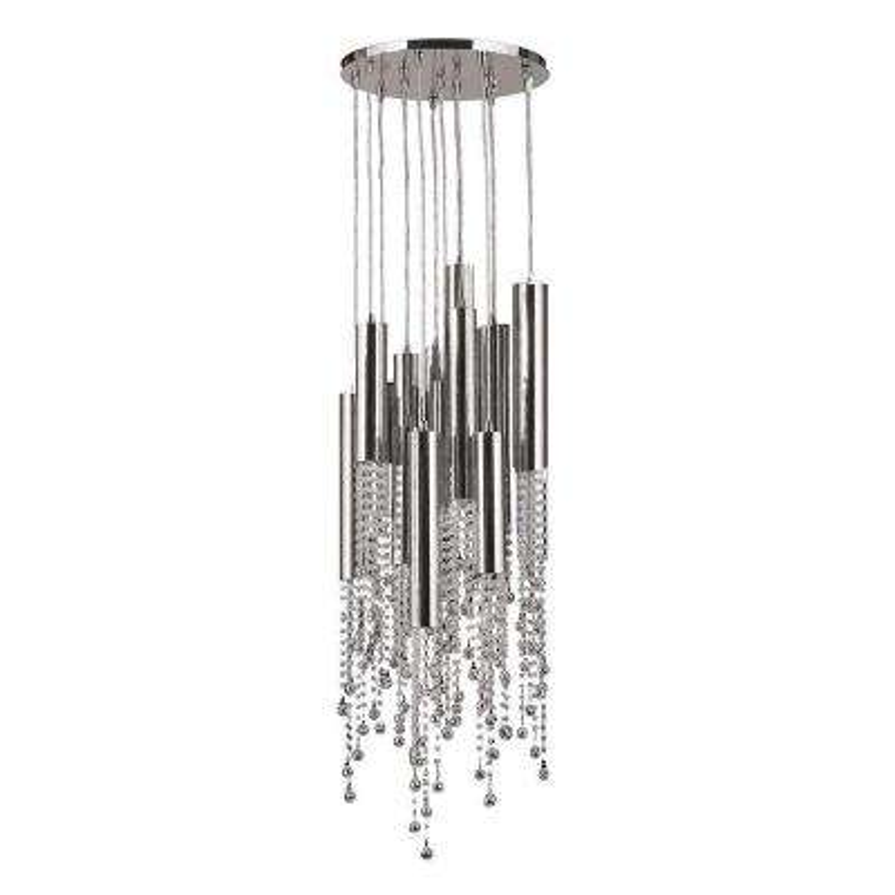 Metropolis 15-Light Chrome Crystal Flush Mount Medium Ceiling Light