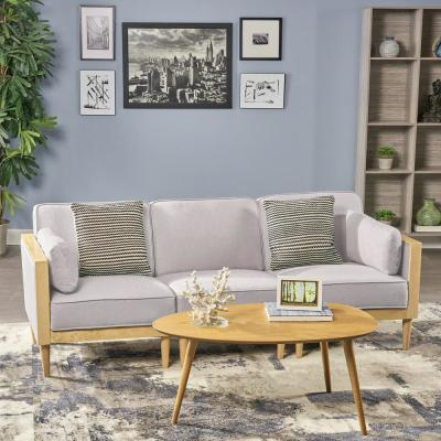 NewPembroke Mid Century Modern 3 Piece Light Gray Fabric Sectional Sofa Set