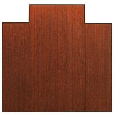 Plush Dark Brown Mahogany 47 in. x 51 in. Bamboo Tri-Fold Office Chair Mat with Lip