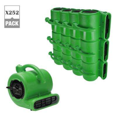 1/4 HP Air Mover for Water Damage Restoration Plumbing Carpet Dryer Floor Blower Fan in Green (252-Pack)