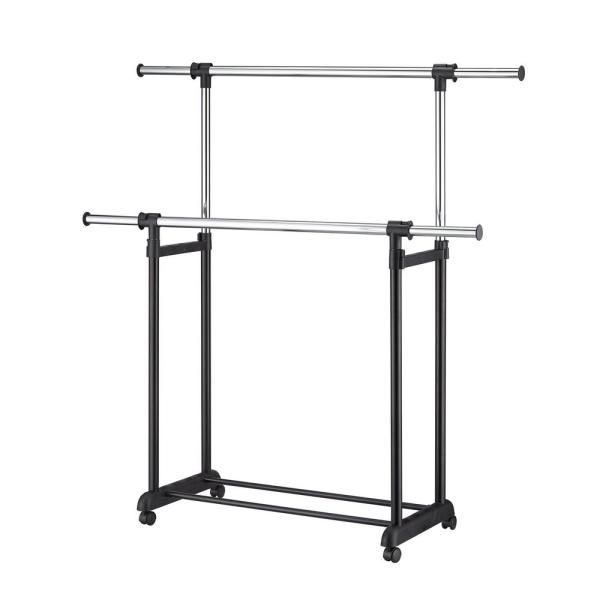 Double Levers Portable Wardrobe Clothes Rack