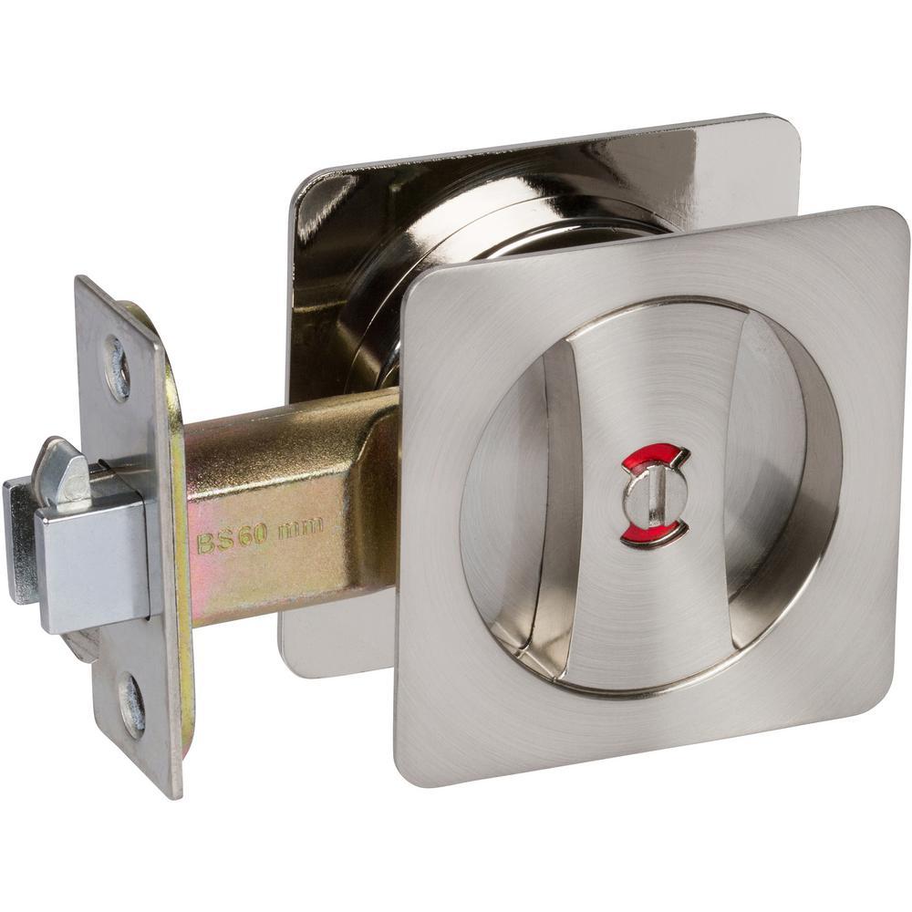 Contemporary Square Satin Nickel Bed, Bath Privacy Sliding Pocket Door Lock