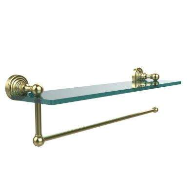 Waverly Place 16 in. L  x 5 in. H  x 5 in. W Paper Towel Holder with Clear Glass Shelf in Satin Brass