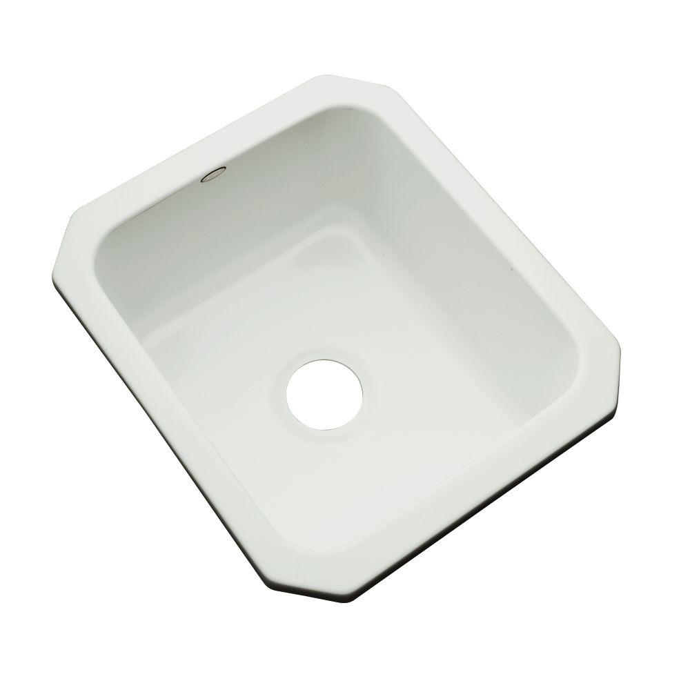 Thermocast Crisfield Undermount Acrylic 17 in. Single Basin Entertainment Sink in Ice Gray