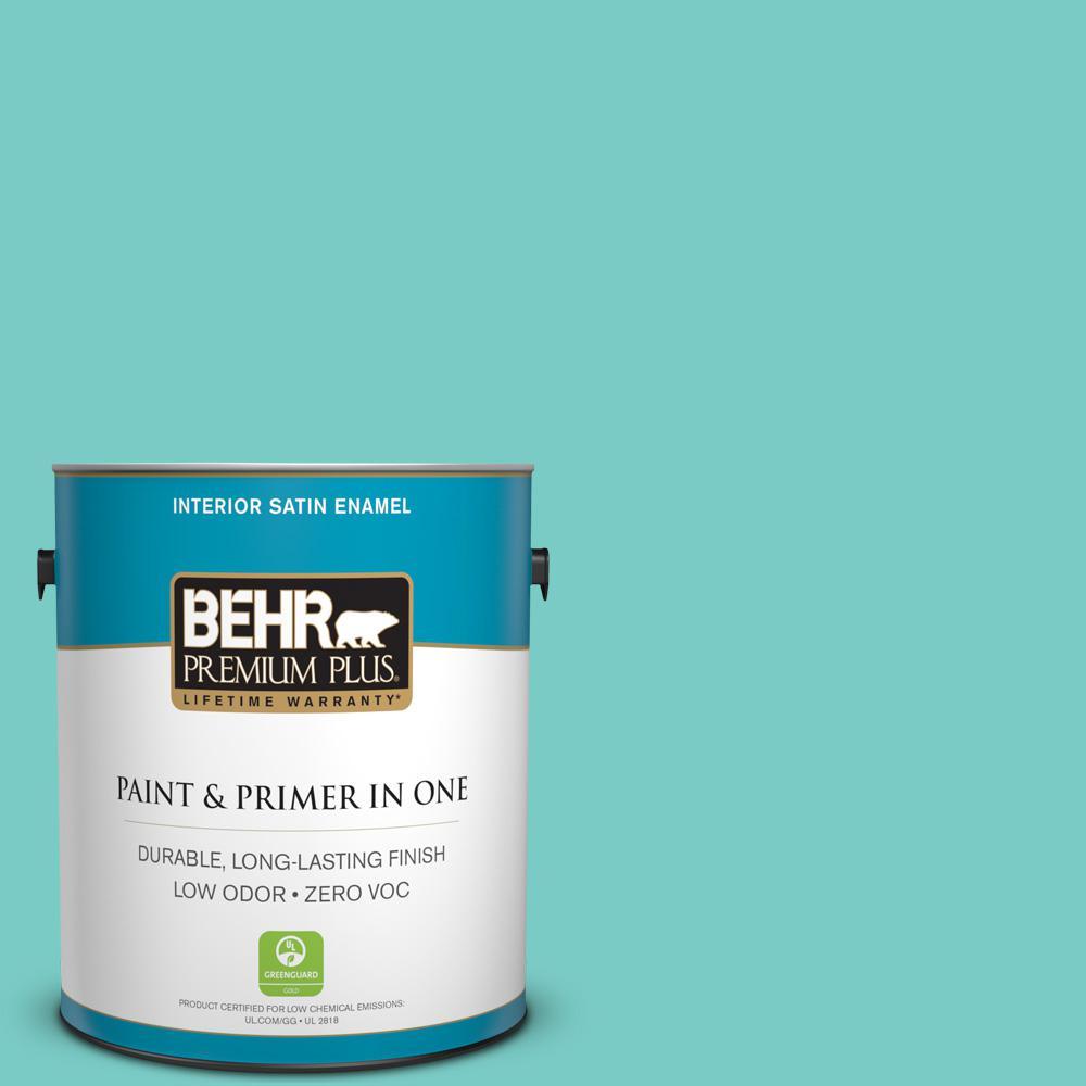 BEHR Premium Plus 1 Gal BIC 39 Blue Green Gem Satin Enamel Zero