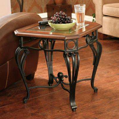 Thomas Black Metal and Dark Cherry End Table