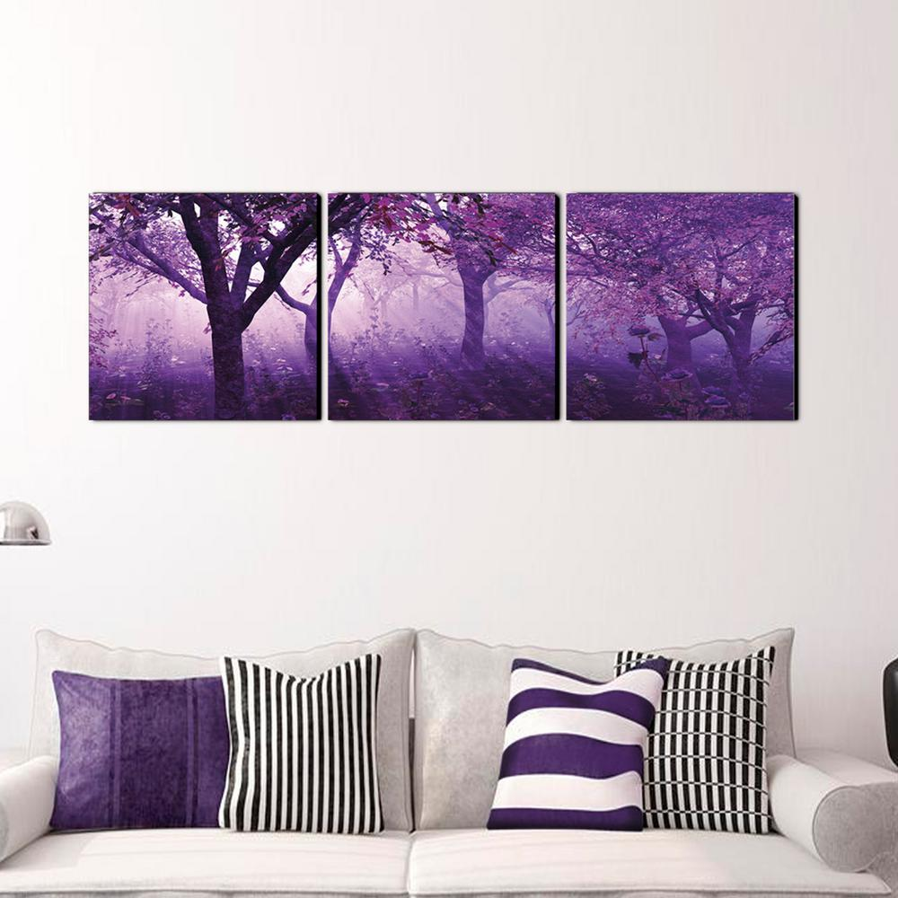 Furinno 20 In X 60 Purple Trees Printed Canvas Wall Art