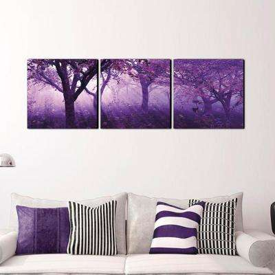 "20 in. x 60 in. ""Purple Trees"" Printed Canvas Wall Art"