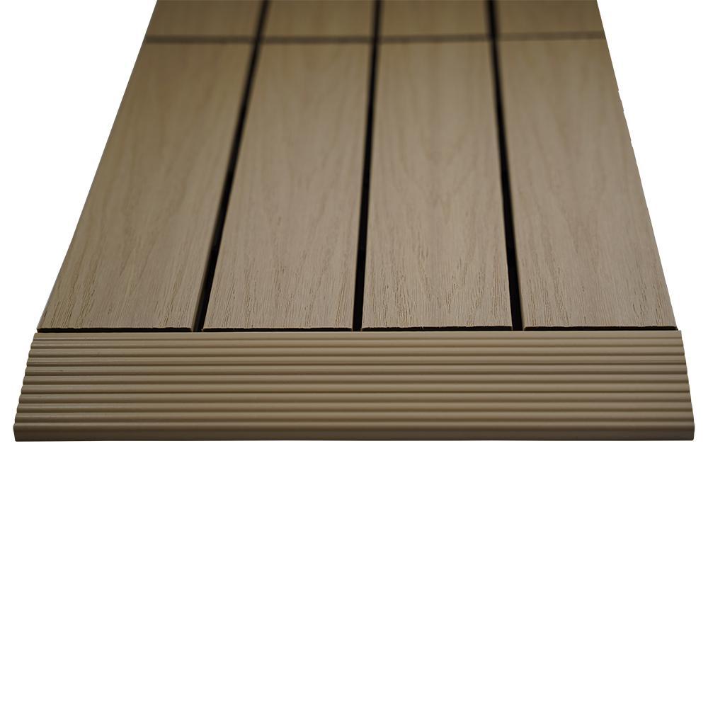 1/6 ft. x 1 ft. Quick Deck Composite Deck Tile Straight Trim in Japanese Cedar (4-Pieces/Box)