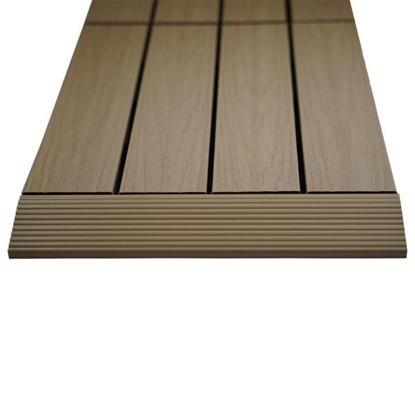 1/6 ft. x 1 ft. Quick Deck Composite Deck Tile Straight Fascia in Japanese Cedar (4-Pieces/Box)