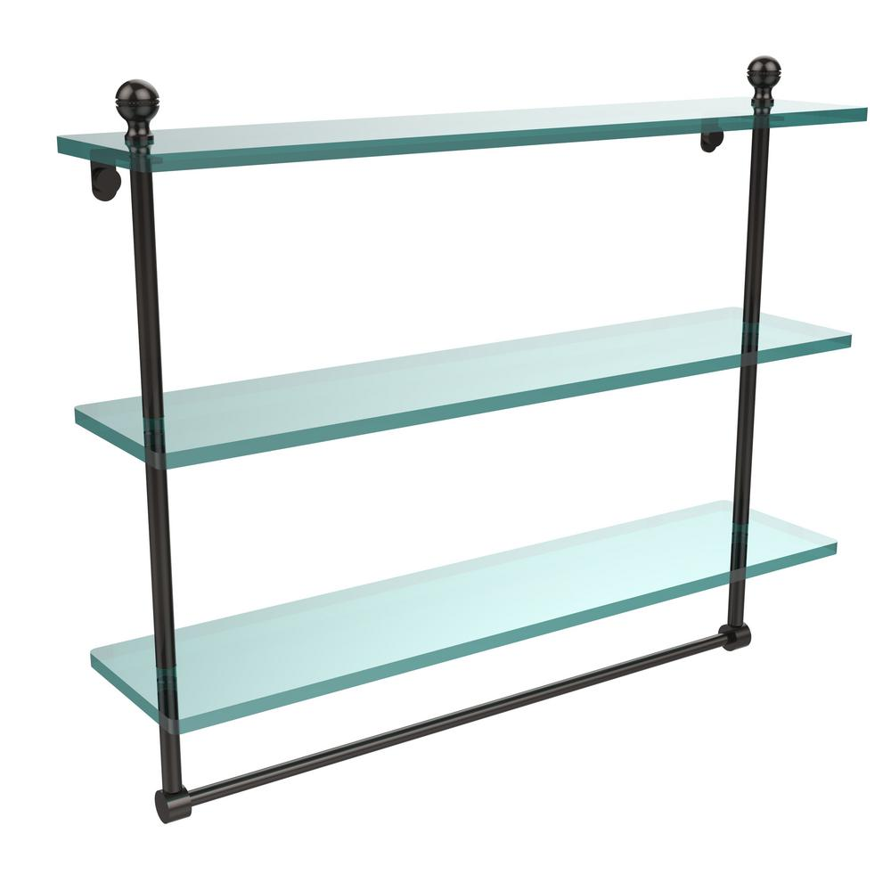 Allied Br Mambo 22 In L X 18 H 5 W 3 Tier Clear Gl Bathroom Shelf With Towel Bar Oil Rubbed Bronze