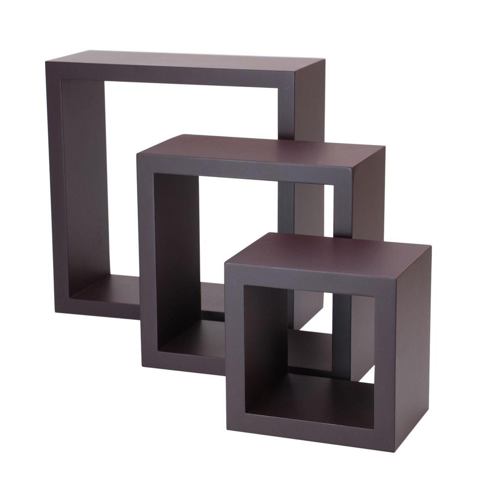 AZ Home and Gifts nexxt Cubbi 10 in. MDF Wall Shelf in Java (3-Piece)