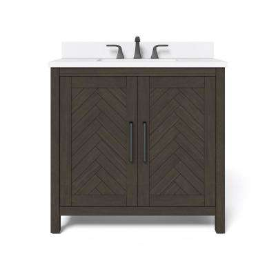 36 in. W x 34.5 in. H Bath Vanity in Dark Brown with Engineered Stone Vanity Top in White with White Basin